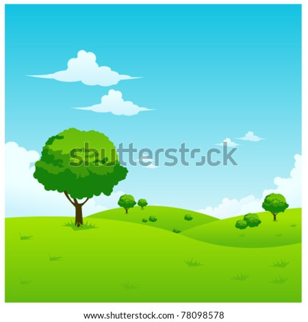 green landscape vector illustration - stock vector