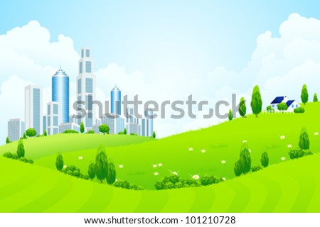 Green Landscape with City House Trees and Clouds - stock vector