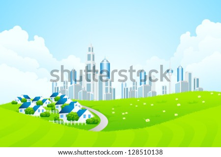 Green Landscape with City line, Clouds and Cottage Village