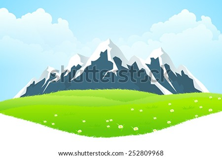 Green Landscape with clouds flowers and mountains - stock vector