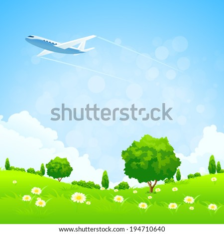 Green Landscape with  Flowers Trees and Airplane - stock vector