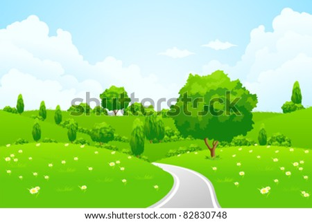 Green Landscape with hill tree road and flowers for your design - stock vector