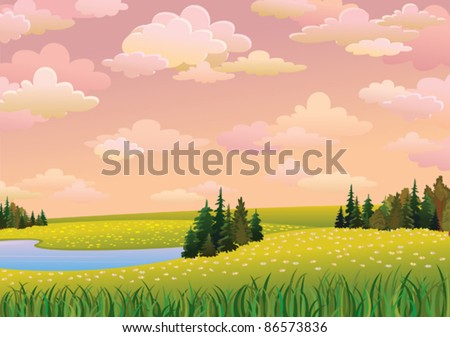 Green  landscape with meadow, lake and forest on a pink cloudy sky