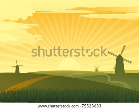 Green landscape with mill - stock vector