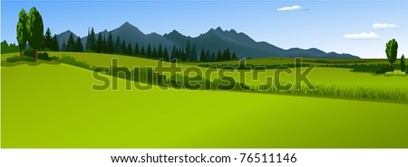 Green landscape with mountains - stock vector