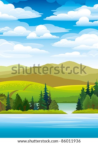Green landscape with mountains, trees and blue lake on a sky background - stock vector