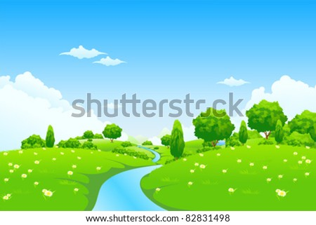 Green Landscape with river trees and flowers for your design - stock vector