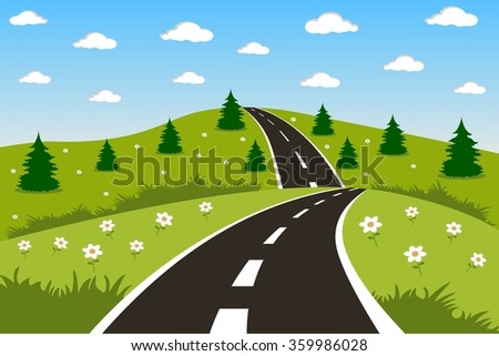 Green landscape with road - stock vector