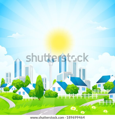 Green Landscape with road, grass, City and Village - stock vector