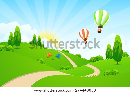 Green Landscape with Road, Hot-air-Balloons, Tourists Tents and Campfire - stock vector