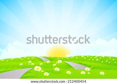 Green landscape with road, sun and clouds - stock vector