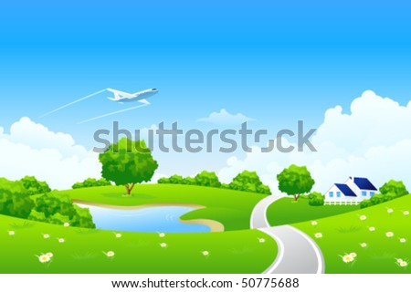 Green landscape with tree lake road house and clouds - stock vector