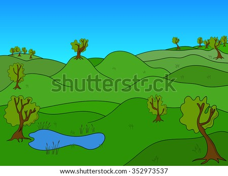 Green Landscape with trees and green fields and lake