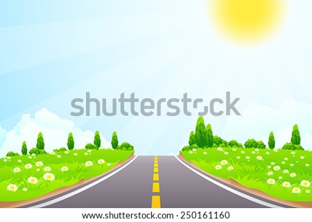 Green Landscape with trees clouds flowers and Road - stock vector