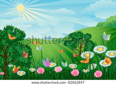 green landscape with trees, flowers and butterflies