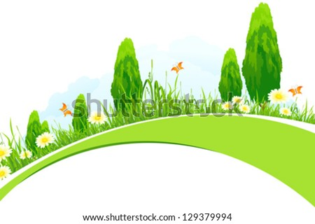 Green Landscape with  Trees, Grass, Flowers and Clouds isolated on white background