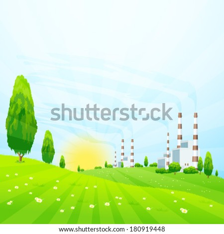 Green Landscape with Trees, Sun and Power Plant - stock vector