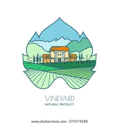 Green landscape with vineyard fields, villa, mountains in grapes leaf shape. Outline vector illustration of rural landscape. Design concept for wine list, bar or restaurant menu, labels and package. - stock vector
