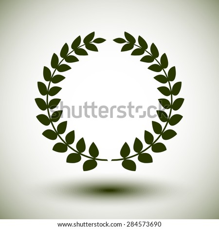 Green laurel wreath on white background.
