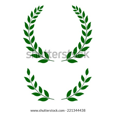 green laurel wreaths -  round and half for main emblem and bottom. Vector format, fully editable, you can change form and color. - stock vector
