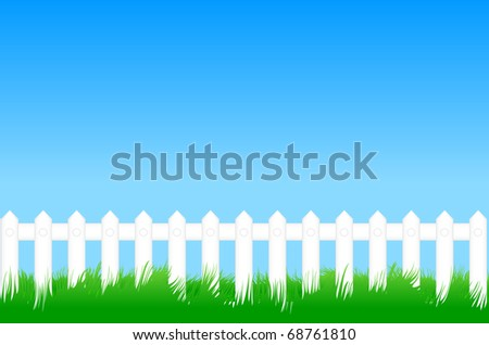 Green lawn with grass and a white fence