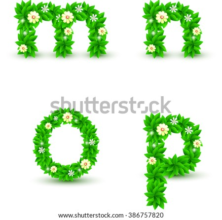 green leaf and flowers small font vector set, m n o p font - stock vector