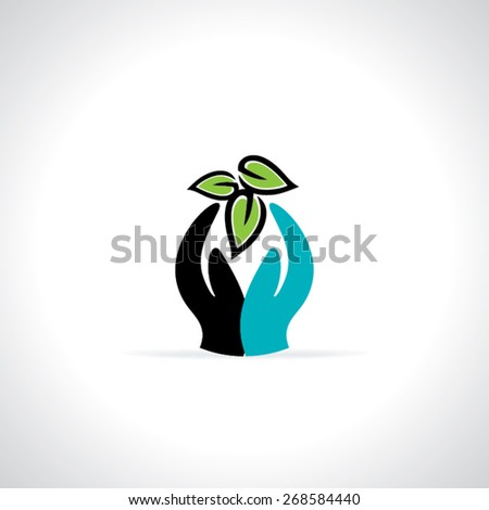green leaf care with hand vector illustration  - stock vector