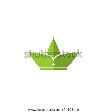 Green Leaf Crown Icon Logo Vector