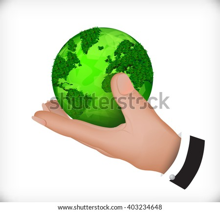 green leaf earth globe in his hands