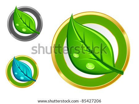 Green leaf emblems and icons set for ecology design, such a logo. Rasterized version also available in gallery - stock vector