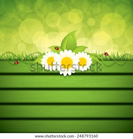 Green leaf frame with flowers.Vector - stock vector