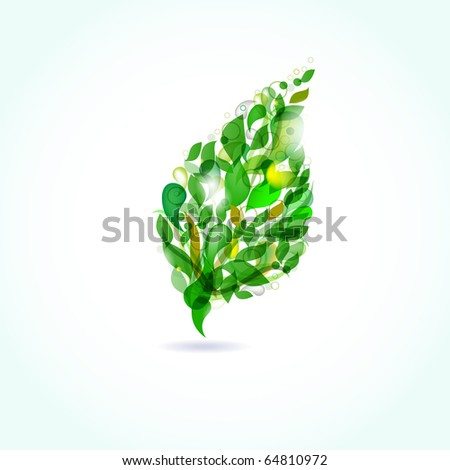 Green leaf from drops. Vector format - stock vector