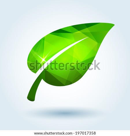 Green leaf icon with modern triangle pattern - stock vector