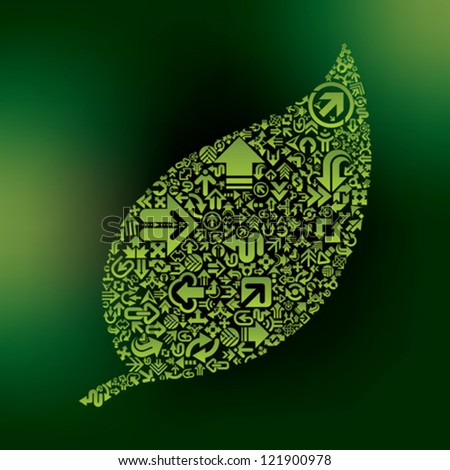 green leaf make from arrows - stock vector