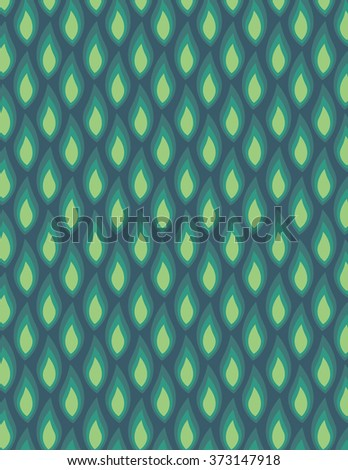 Green leaf pattern over green color background - stock vector