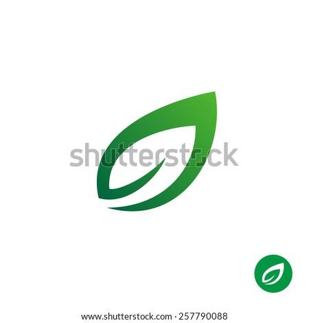 Green leaf symbol. Single contour style plant leaf simple logo. - stock vector