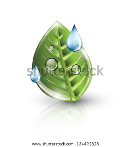 Green leaf with blue drops, eco concept, EPS 10, isolated - stock vector