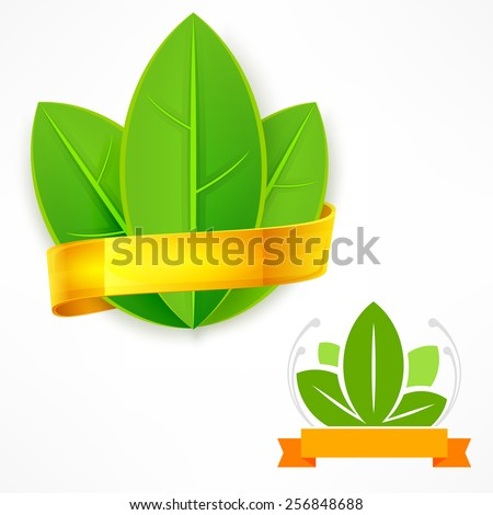 Green leaf with golden ribbon on white, vector illustration - stock vector