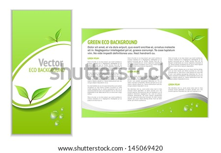 Green Leaflet with Eco Topic for Web or Print - stock vector