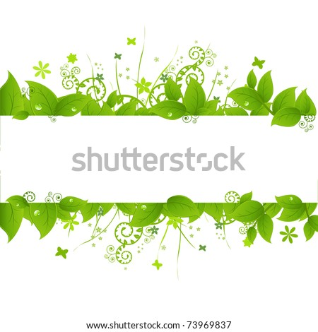 Green Leafs And Grass, Isolated On White Background, Vector Illustration - stock vector