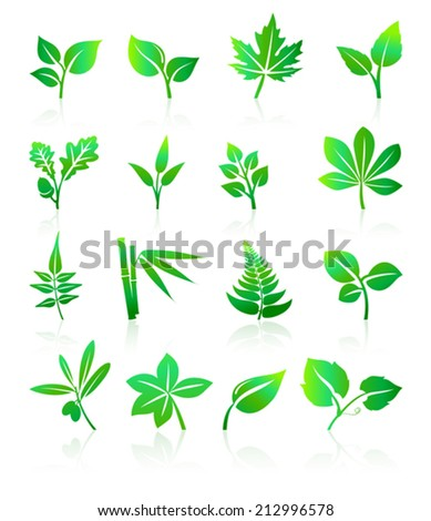 Green Leafs Icons - stock vector