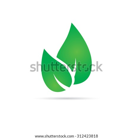 Green leafs. Vector web element. Sticker - stock vector