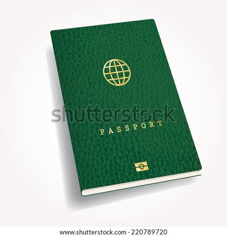 green leather biometric passport with globe icon - stock vector
