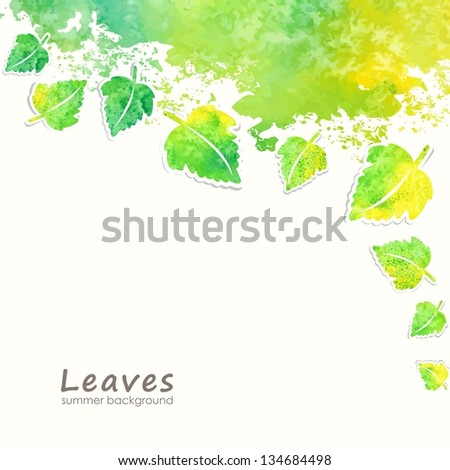 Green leaves background. Eco design template. - stock vector