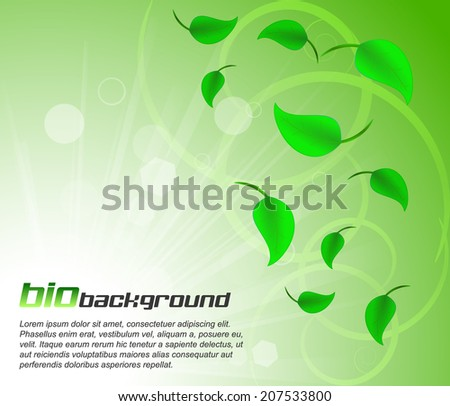 Green leaves bio background with light and bubbles/design with place for your content