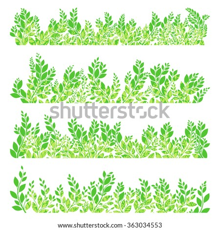 Green leaves border isolated on white background. EPS 10 vector file included