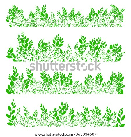 Green leaves border on white background. EPS 10 vector file included