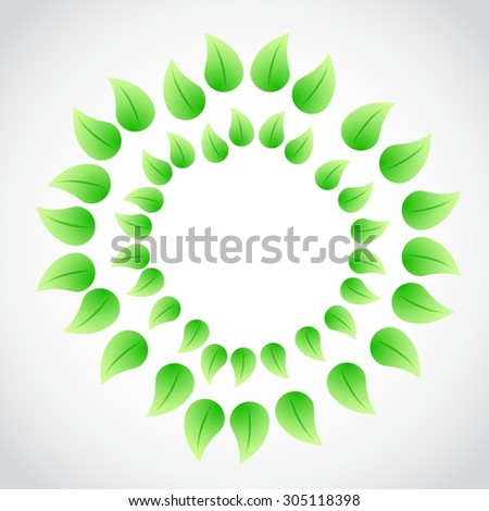 green leaves circular illustration design graphic bright background - stock vector