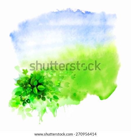 Green leaves composition on the glade. Watercolor abstract. - stock vector