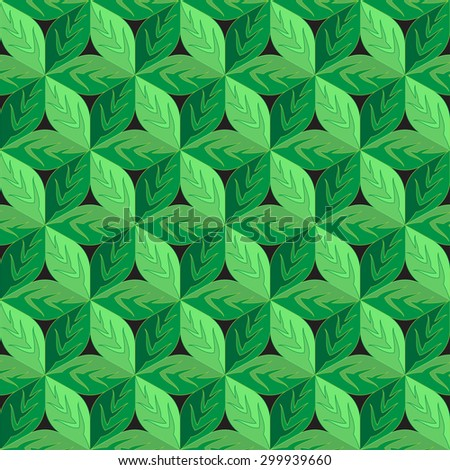 Green Leaves Eco seamless pattern - stock vector